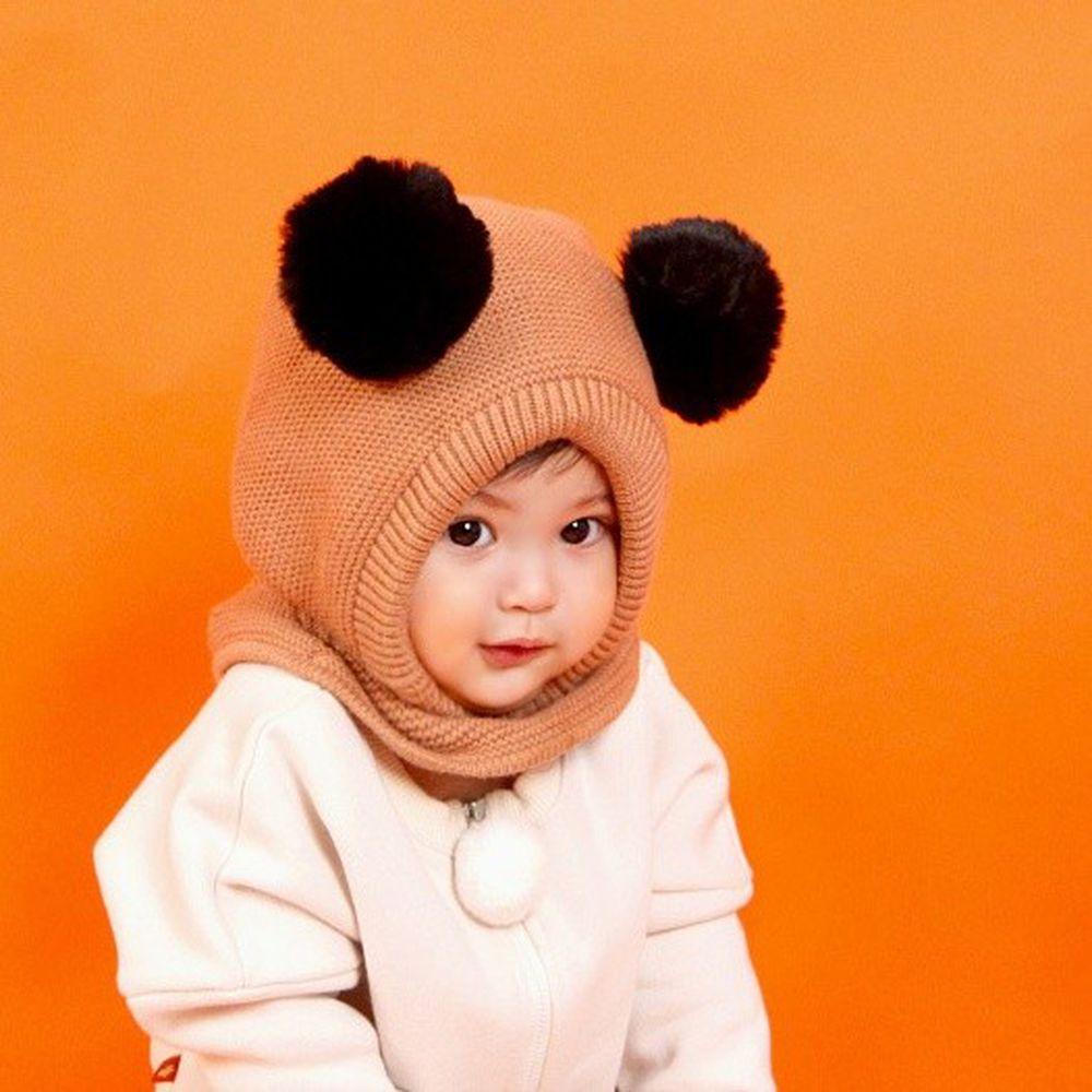 韓國 Babyblee - 大球球遮脖保暖帽-棕 (FREE)