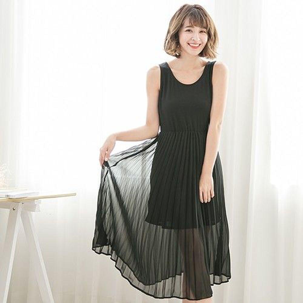Marguerite - 親膚質感連身百褶裙-黑