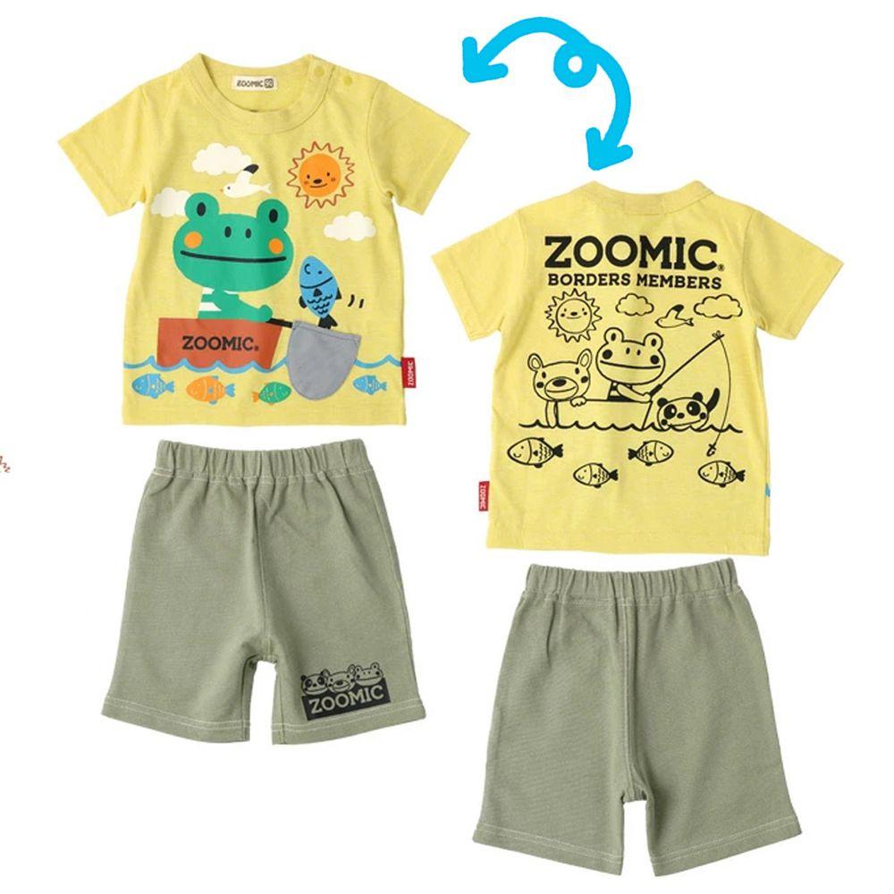 日本 ZOOLAND - 童趣印花短袖上衣X純棉短褲套裝-青蛙撈魚趣-黃