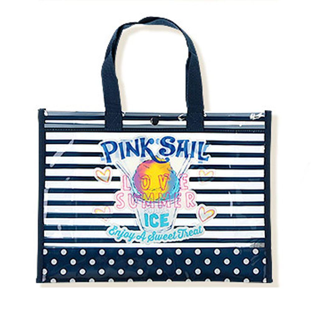 日本 ZOOLAND - 防水PVC手提袋/游泳包-H夏日冰品-深藍 (25x34x11cm)