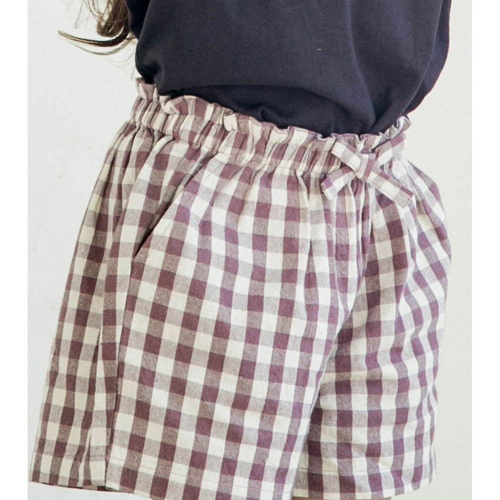 日本 PAIRMANON - 純棉小蝴蝶結短褲-格紋-紫