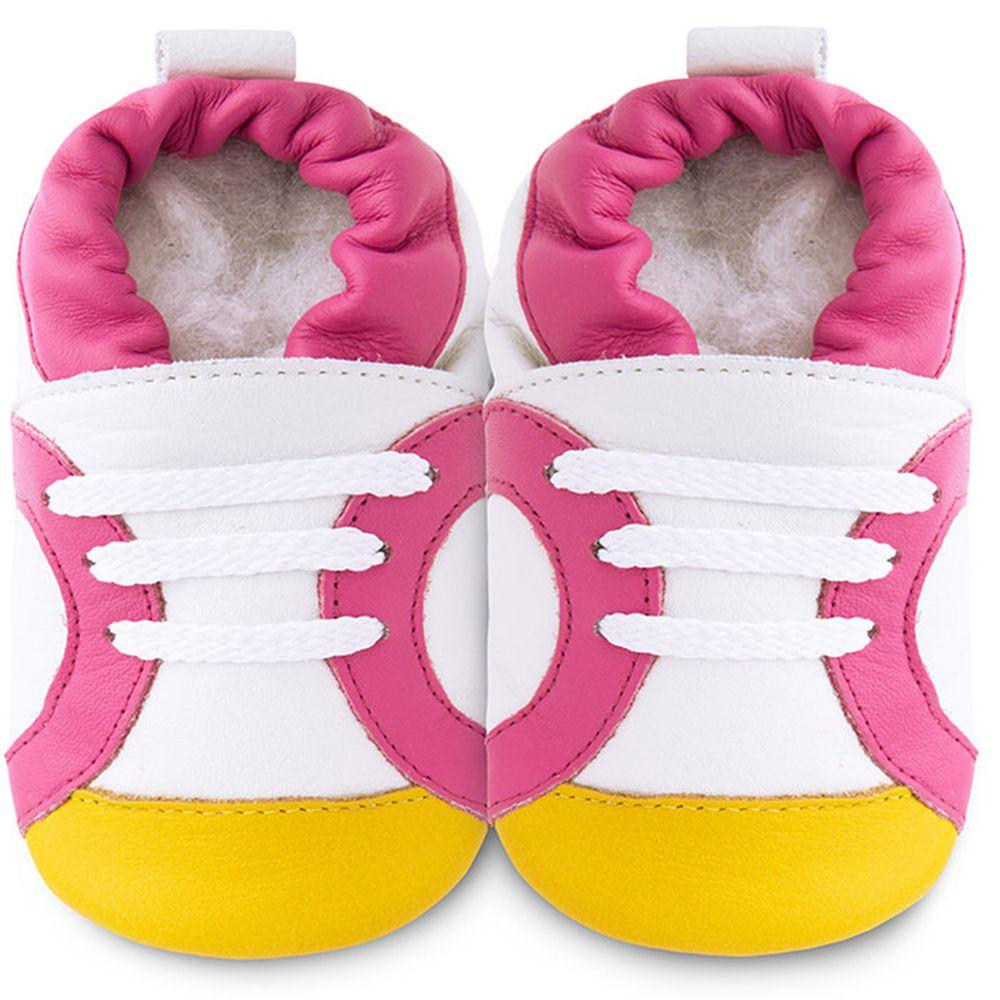 英國 shooshoos - 健康無毒真皮手工鞋/學步鞋/嬰兒鞋/室內鞋/室內保暖鞋-白底/粉黃運動型