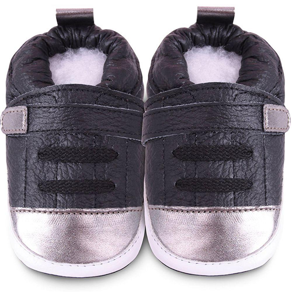 英國 shooshoos - 健康無毒真皮手工鞋/學步鞋/嬰兒鞋/室內鞋/室內保暖鞋-銀黑運動型