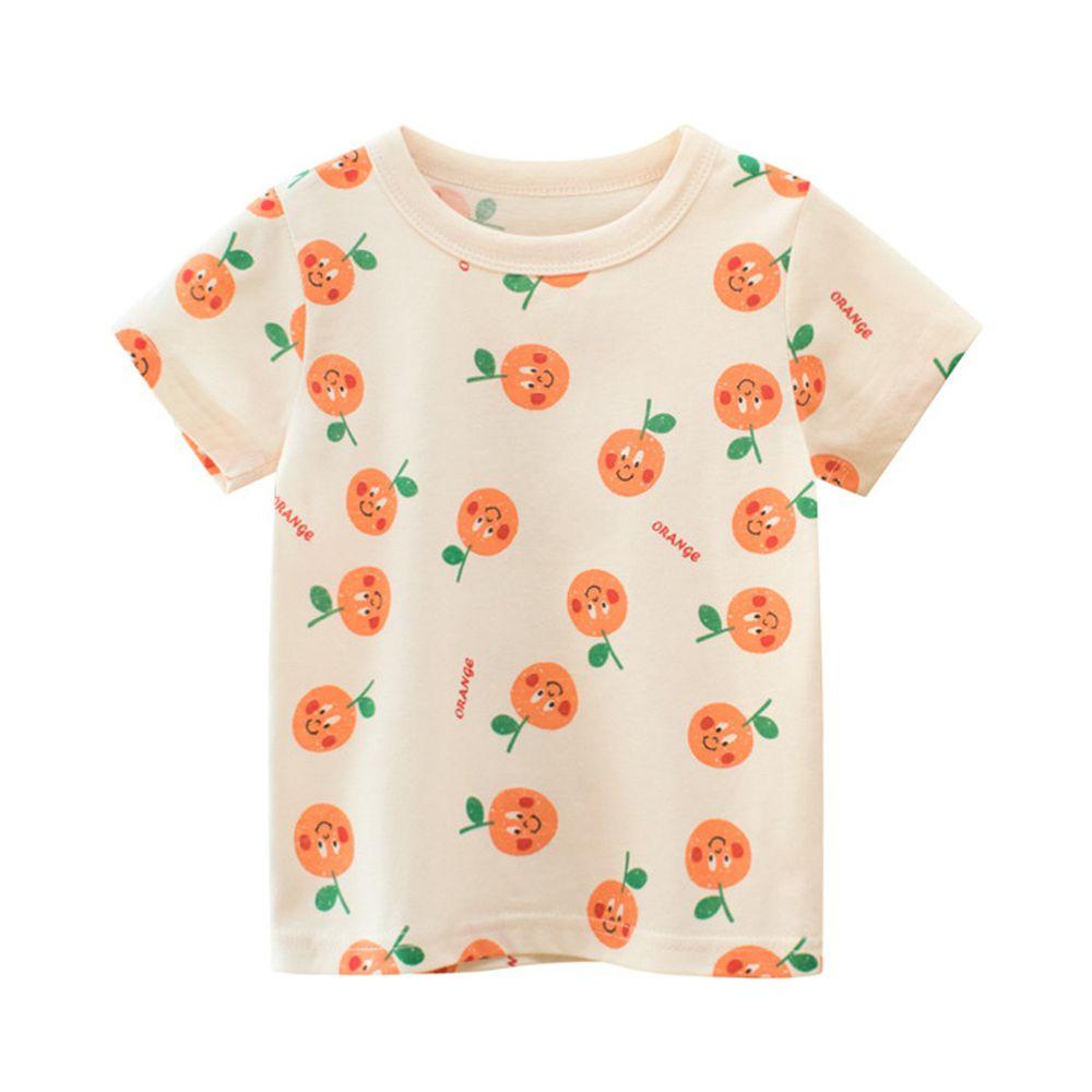 純棉短袖上衣-滿滿橘子-米杏色