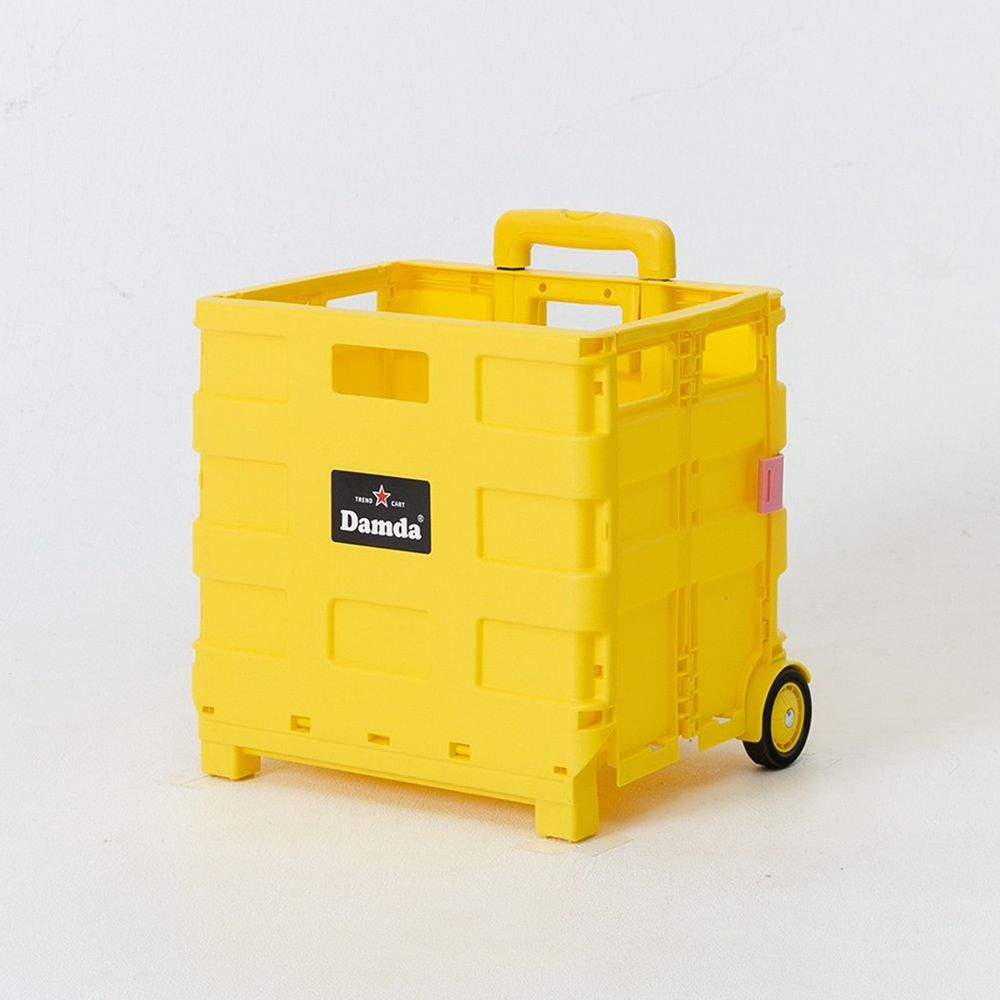 韓國 Damda - 折疊收納手拉車-小-檸檬黃-尺寸:38X30cm, 容量37L