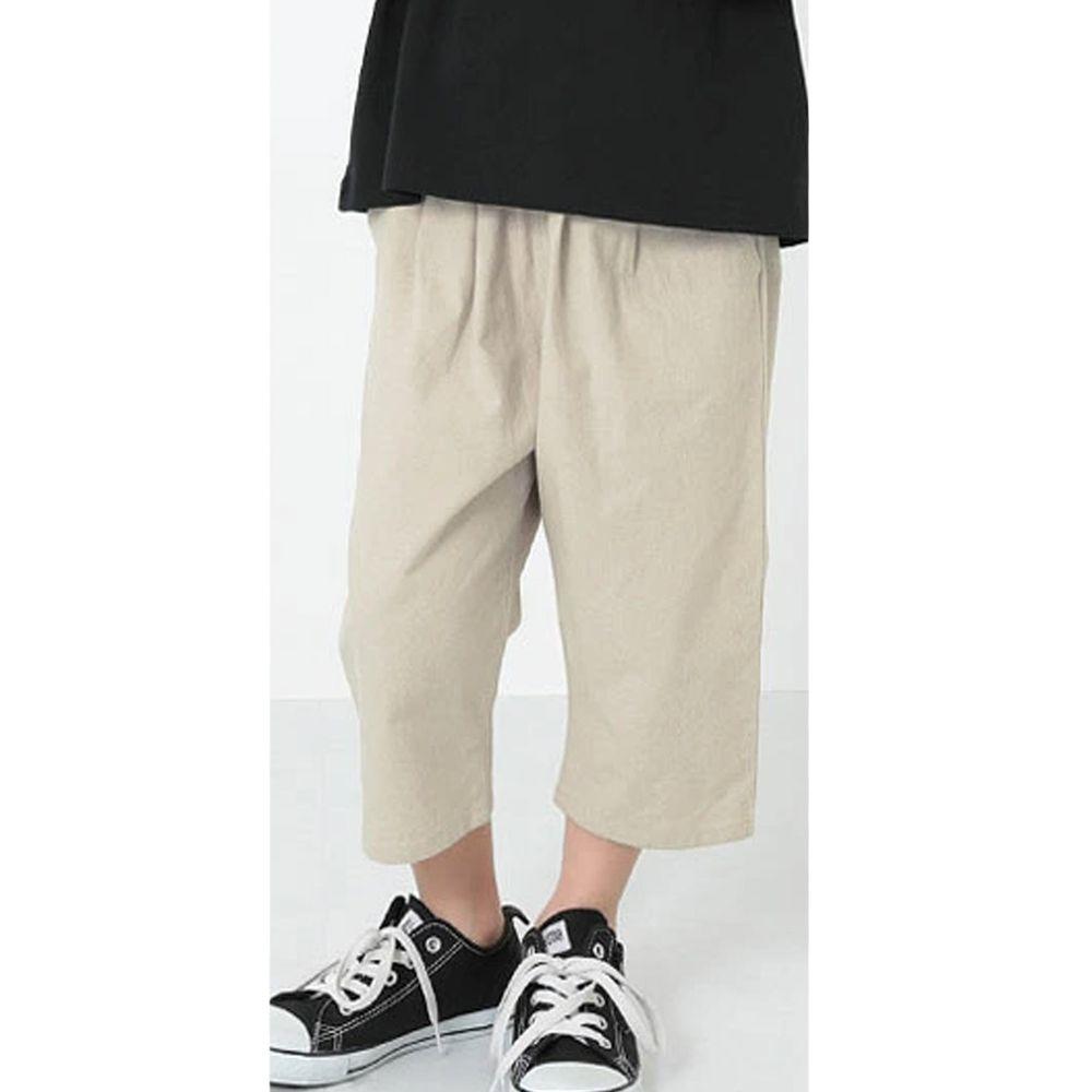 日本 devirock - 純棉舒適直筒七分寬褲-氣質杏