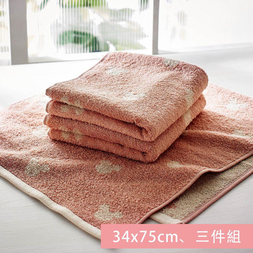 日本千趣會 - 迪士尼 純棉長毛巾三件組-米奇頭-粉 (34x75cm)