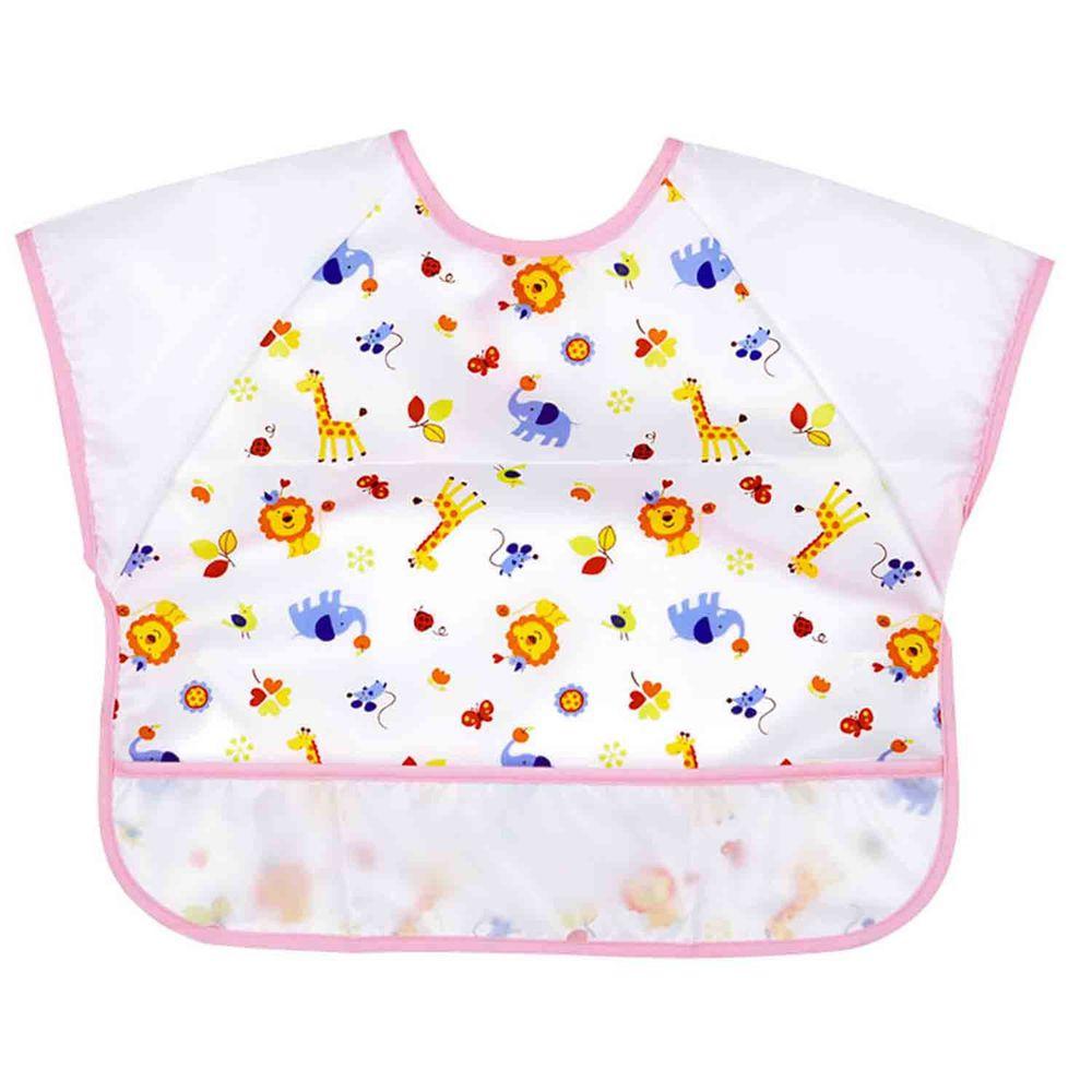 akachan honpo - 抗油汙、快乾短袖圍兜-動物-粉紅色 (80cm~95cm)