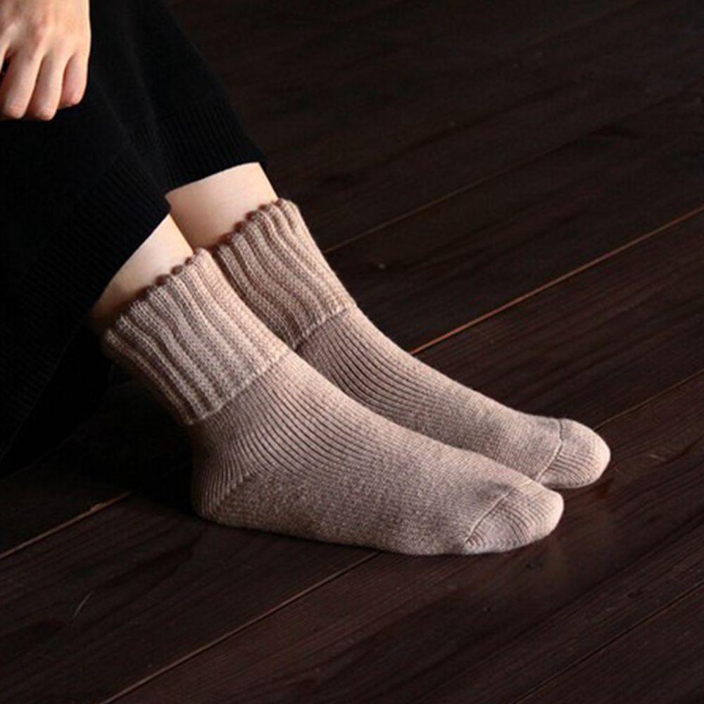 日本女裝代購 - 日本製 內刷毛保暖中筒襪-氣質杏 (23-25)