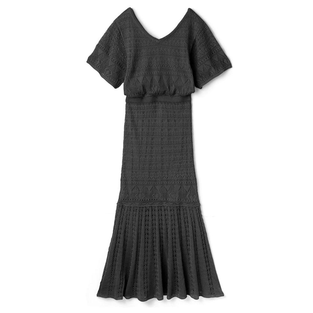 日本 GRL - 明星聯名款 美背鏤空針織短袖魚尾洋裝-時尚黑