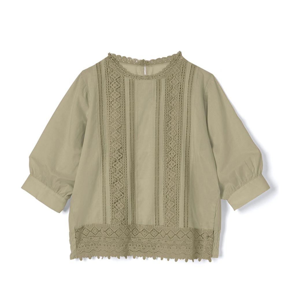 日本 GRL - 浪漫雕花蕾絲拼接五分袖上衣-卡其綠