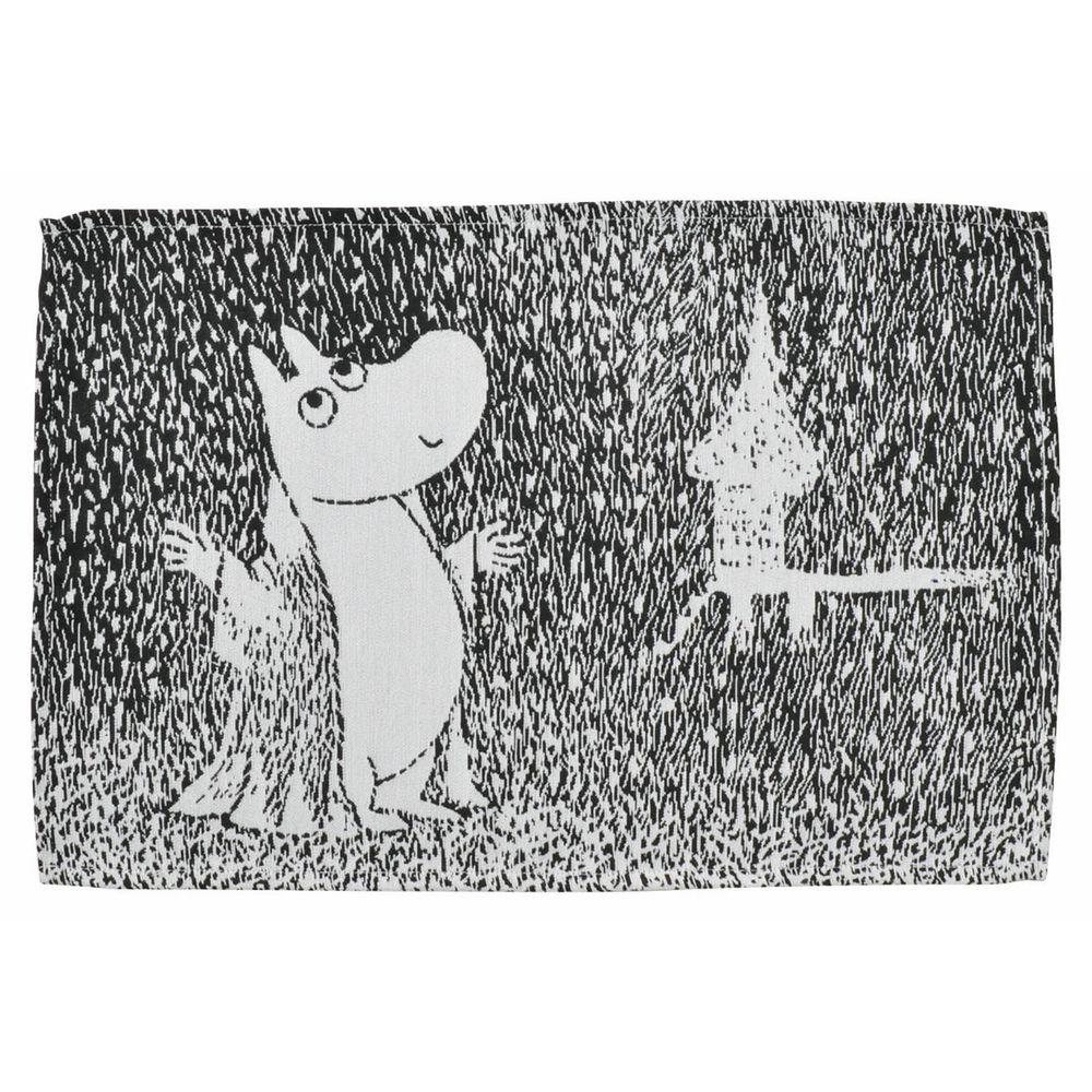 日本千趣會 - 嚕嚕米 編織感餐墊-下雪的夜晚-灰黑 (33x48cm)