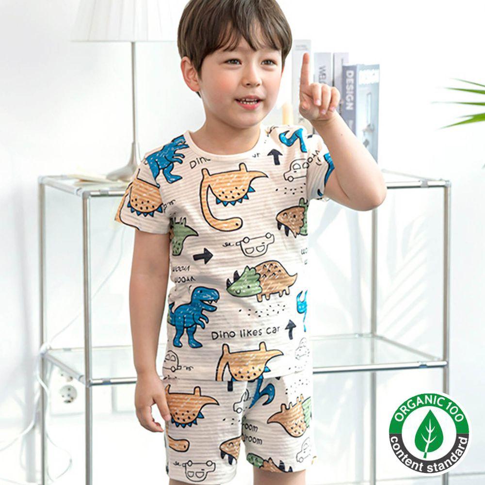 韓國 Maykids - 有機棉緹花短袖家居服-可愛侏羅紀