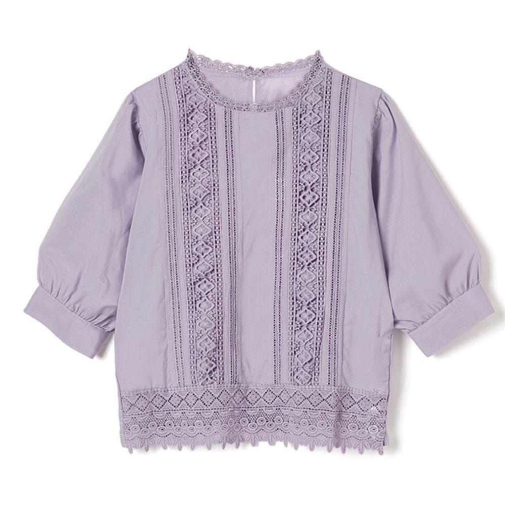 日本 GRL - 浪漫雕花蕾絲拼接五分袖上衣-薰衣草