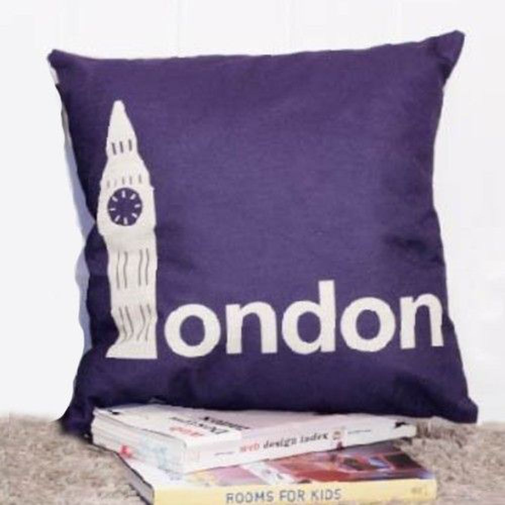 Tromso - 品味英倫棉麻抱枕-U29時尚倫敦紫-44x44cm (枕套*1+枕心*1)
