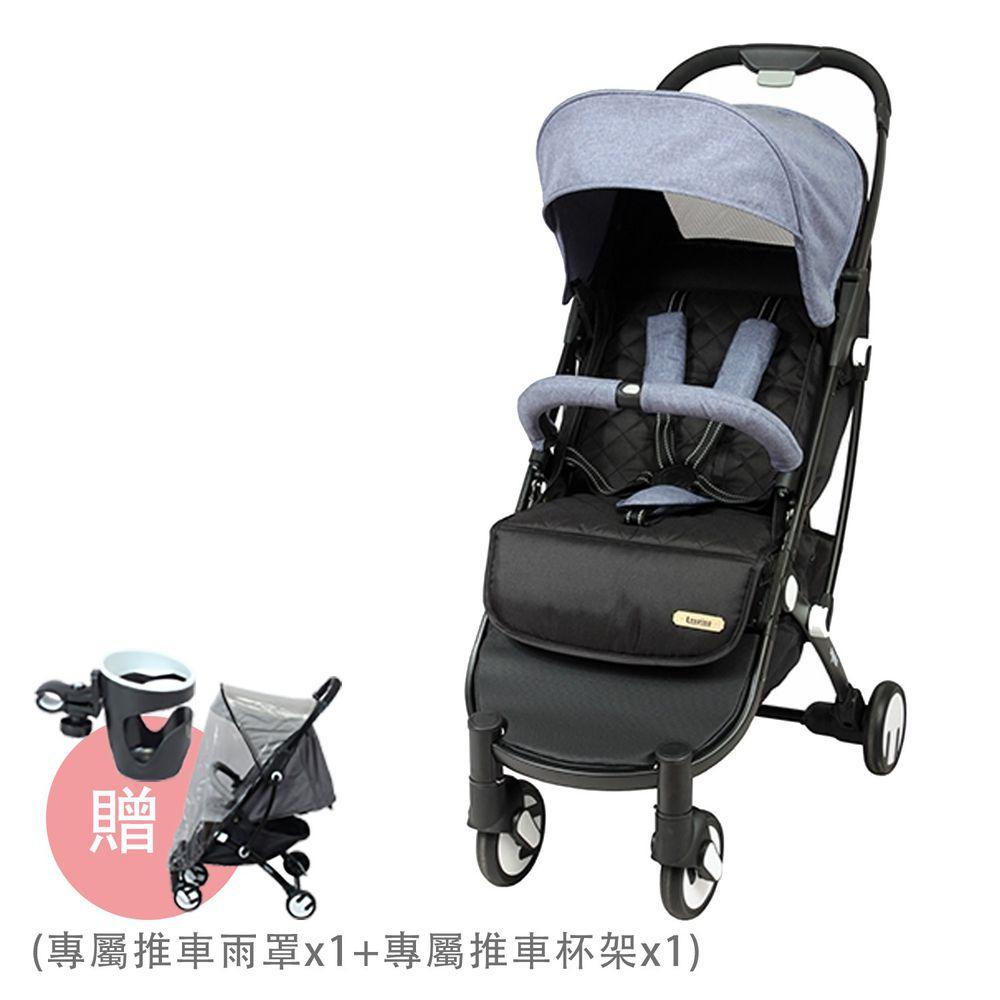 法國 Looping - SquizzⅡ-輕巧行李式嬰幼兒手推車-煙波藍-買送Looping SquizzⅡ專屬推車雨罩 x 1 + 專屬推車水杯架 x 1