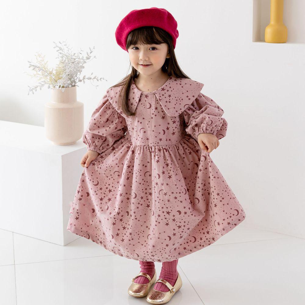 韓國 ERU - 星月泡泡袖洋裝-暗粉紅