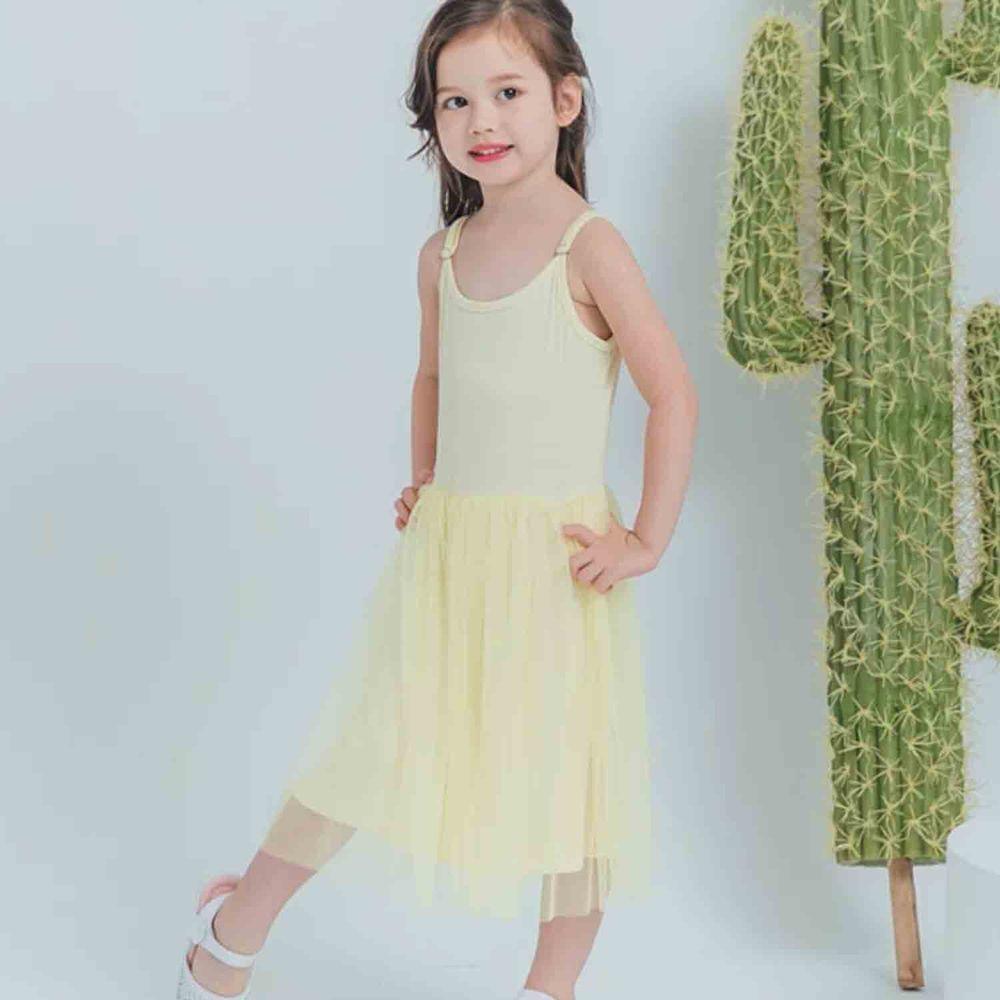 Peachy - 北鼻款*獨家訂製綿柔連身紗裙-細肩帶連身款-嫩鵝黃