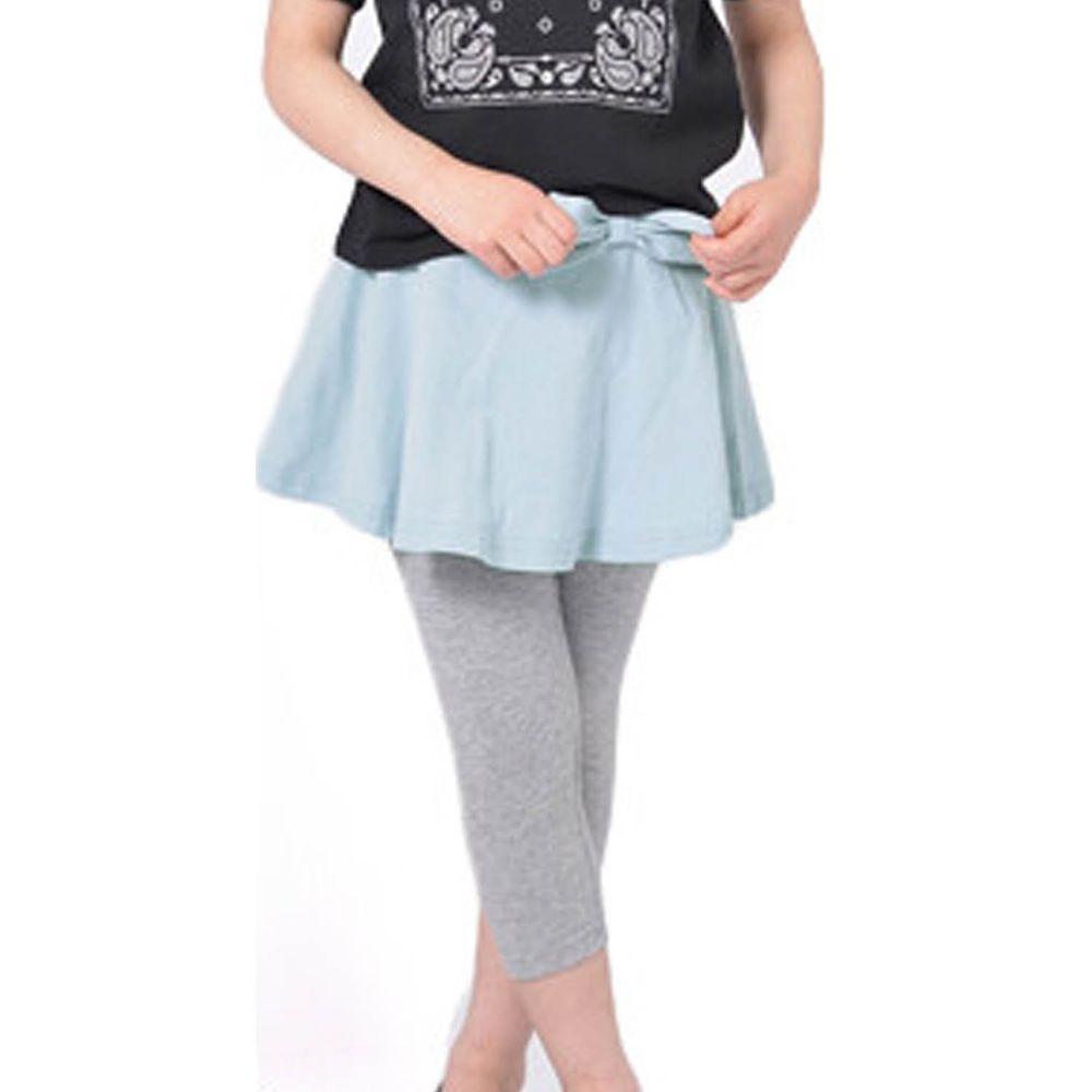 日本 TORIDORY - 百搭蛋糕七分內搭褲裙-水藍X灰
