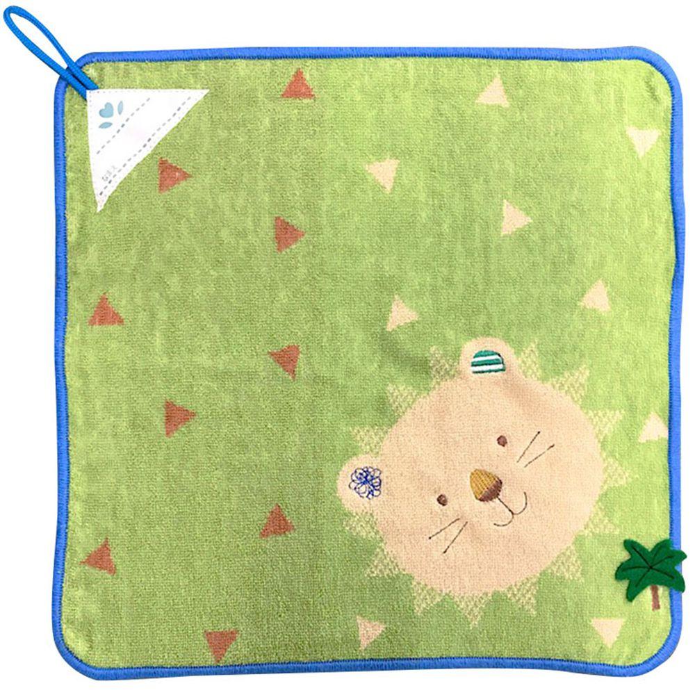 akachan honpo - 擦手巾pocket town-微笑動物-綠色 (34×34cm)