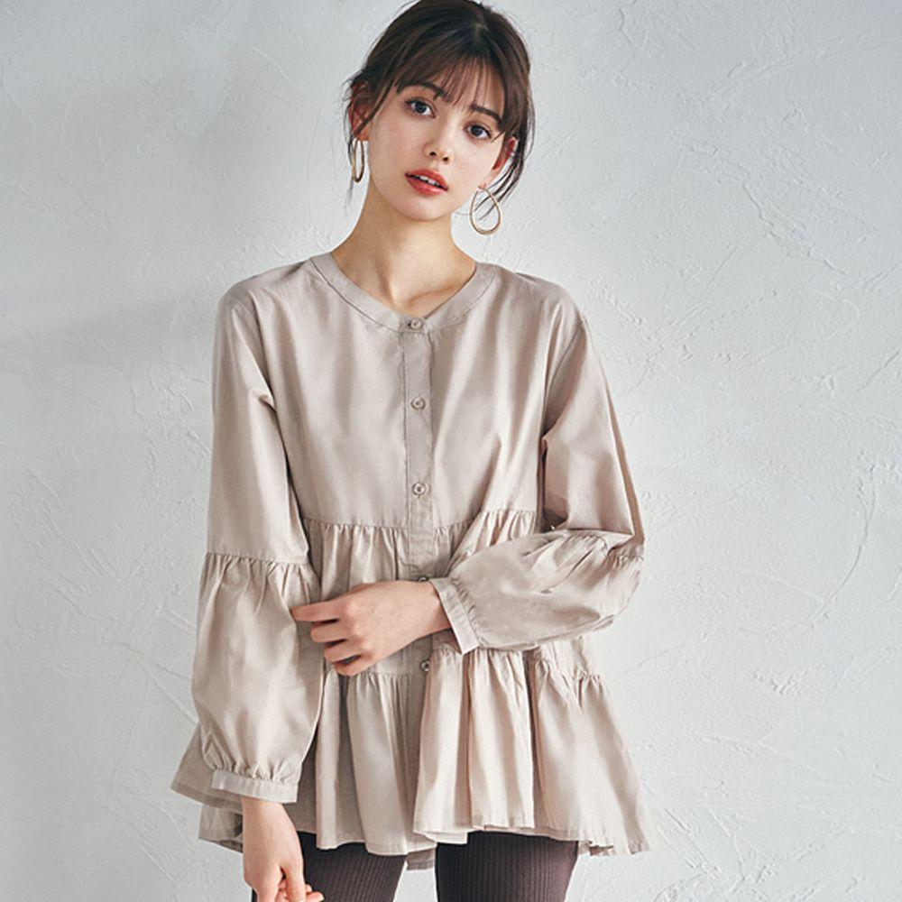 日本 GRL - 浪漫蛋糕層次寬版長袖上衣-杏