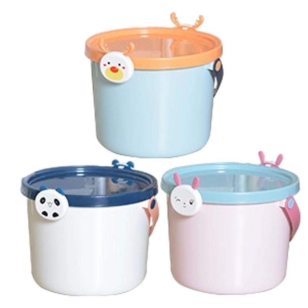 家窩 - 動物造型卡扣戲水/玩具收納桶附蓋-大-3入-熊貓+兔子+麋鹿各1