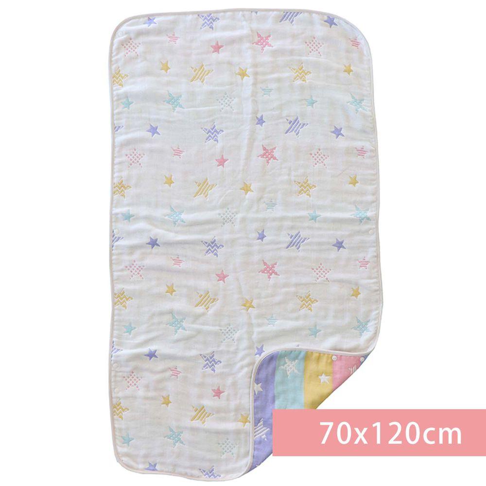akachan honpo - 6層棉紗被(大)-星星-米白色 (70x120cm)