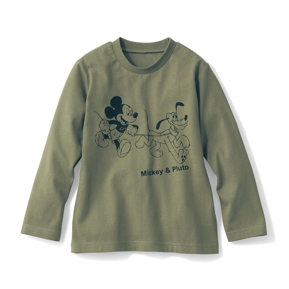 日本千趣會 - 迪士尼天竺棉長T-米奇布魯托-墨綠