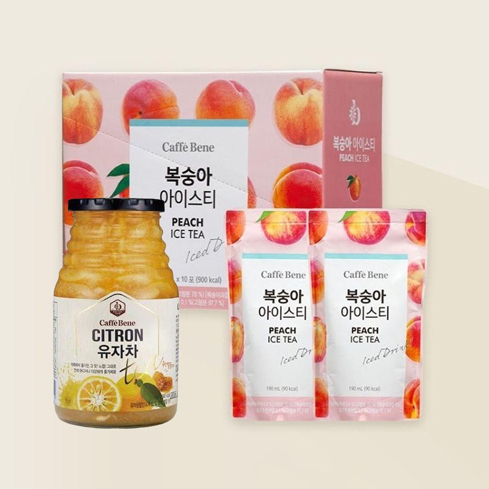 韓國Caffebene咖啡伴 - 【果香組】水蜜桃冰茶(10包/盒)+蜂蜜柚子茶(1kg/罐)