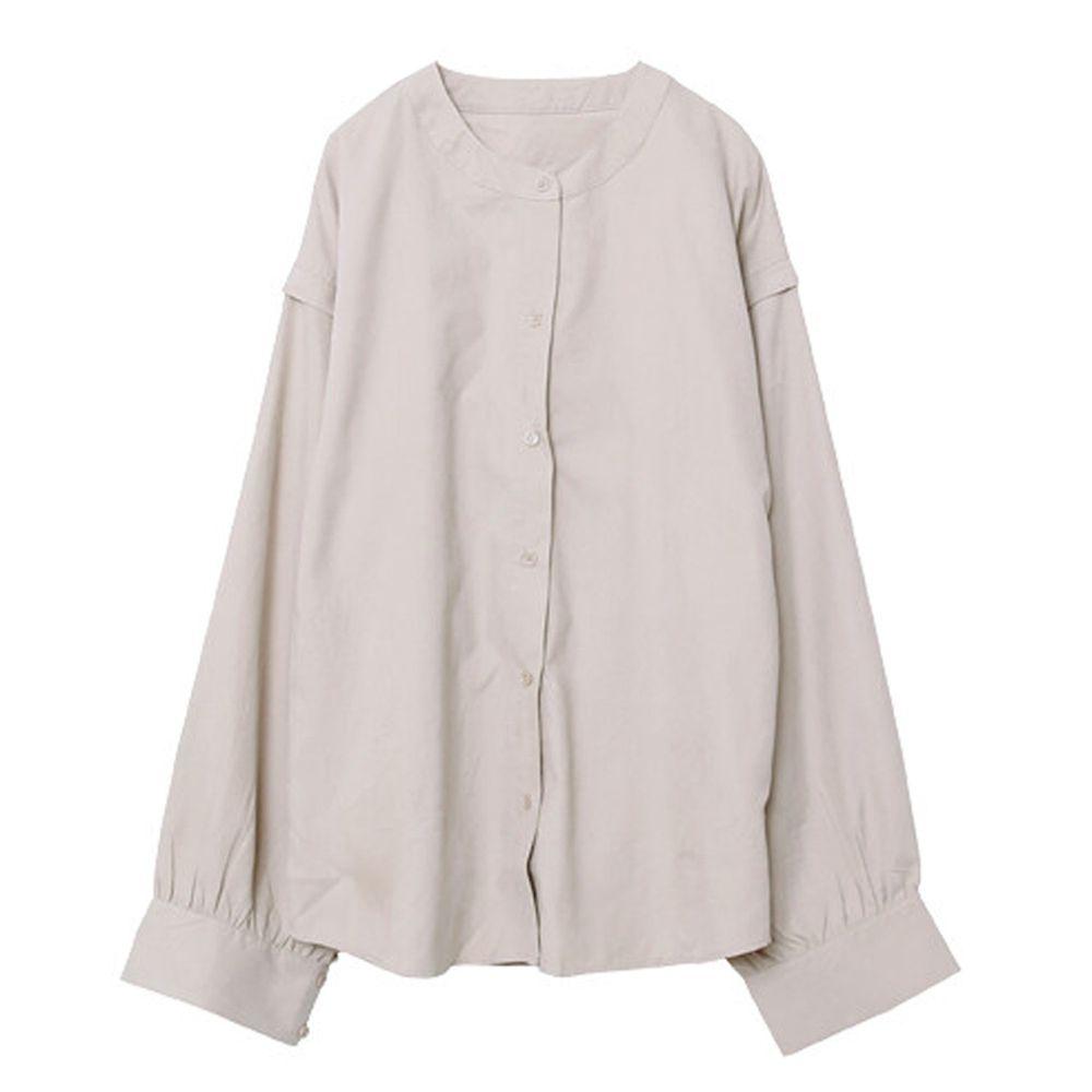 日本女裝代購 - 無印風無領長袖襯衫-杏 (M(Free size))
