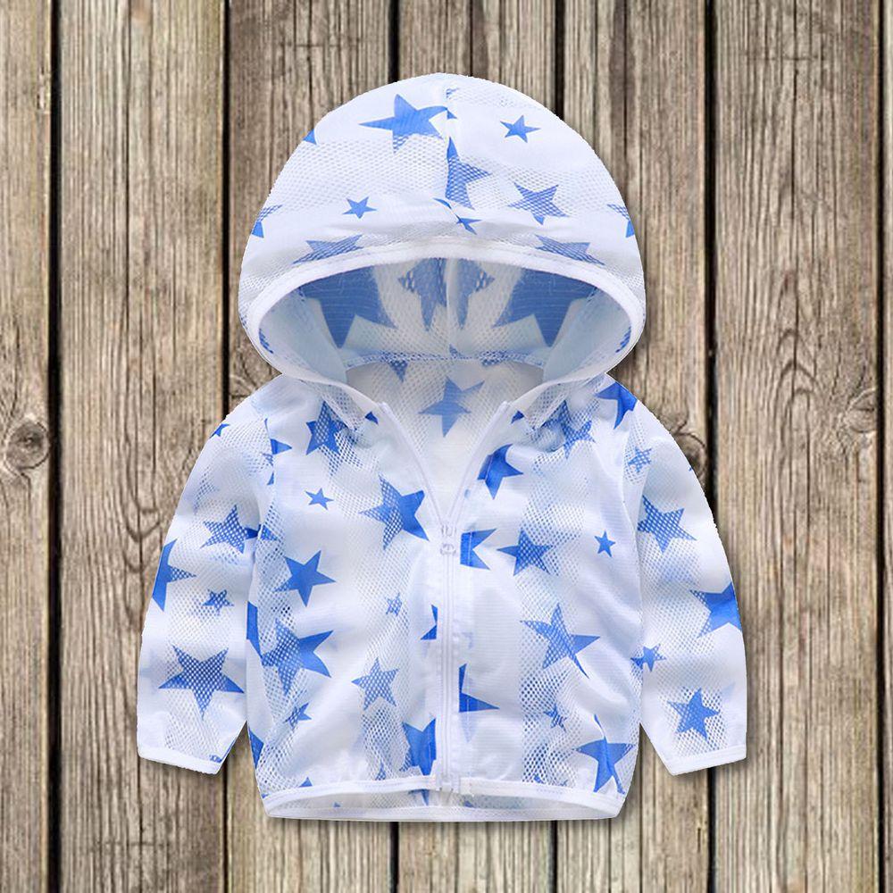 輕薄透氣防曬外套-藍色星星
