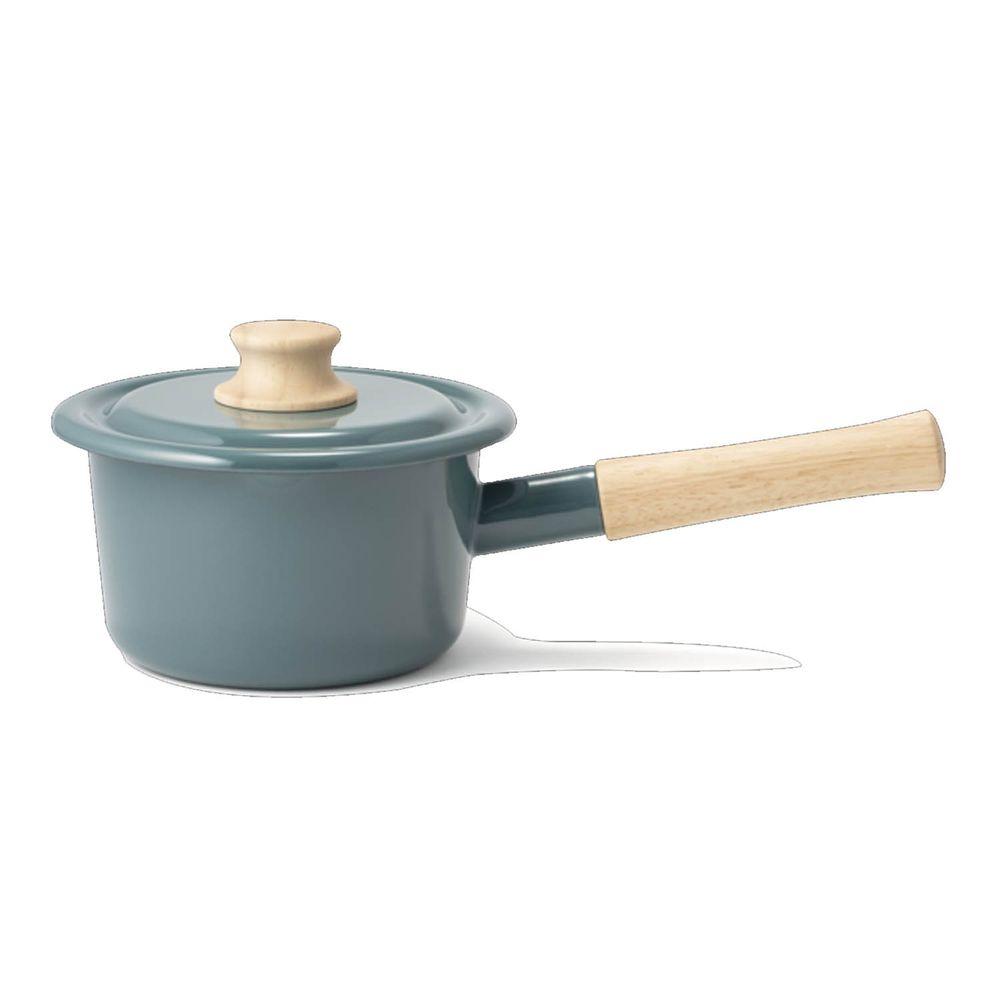 FUJIHORO 富士琺瑯 - 簡約系列-14cm單柄附蓋琺瑯牛奶鍋-煙霧藍-容量:1.6L 重量:1.08kg