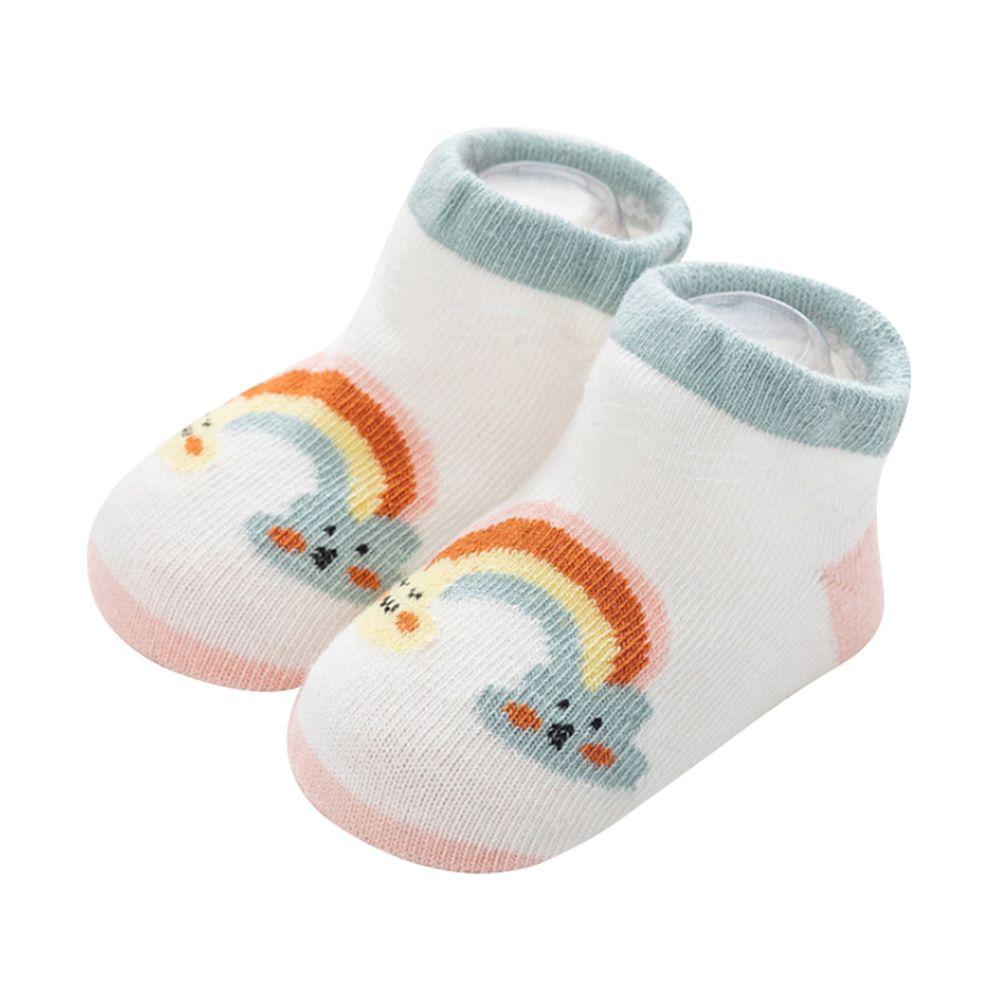 JoyNa - 雲朵天氣船襪 短襪(底部止滑)-白色彩虹