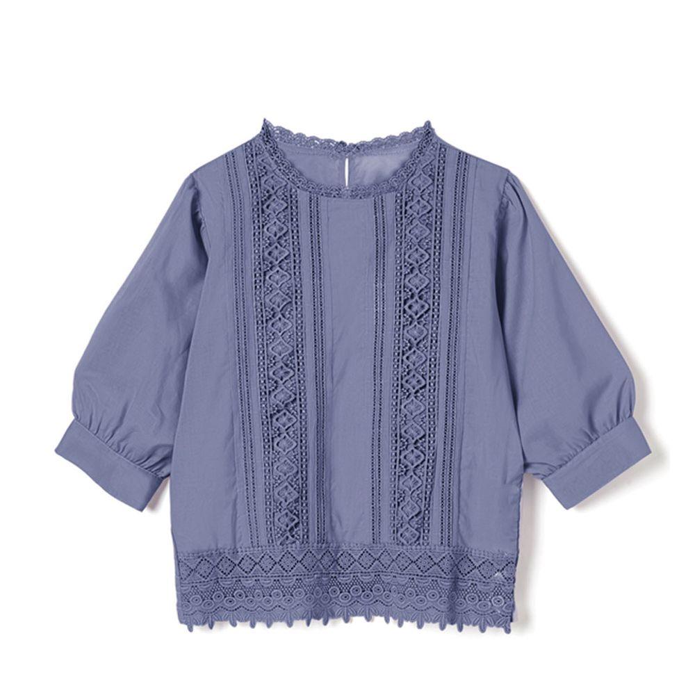日本 GRL - 浪漫雕花蕾絲拼接五分袖上衣-天空藍