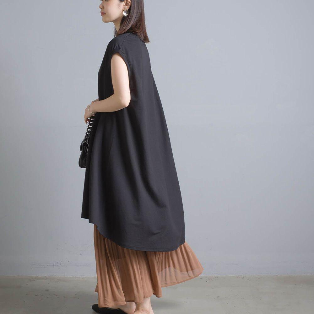 日本 OMNES - 接觸冷感 修身設計一分袖洋裝-黑
