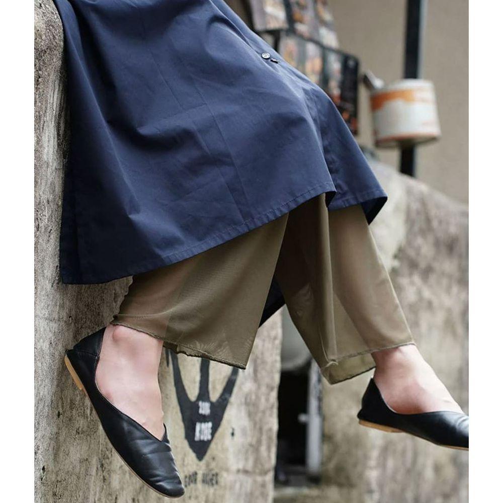 日本 zootie - 時尚透膚層次感穿搭內搭寬版長褲-網紗-墨綠