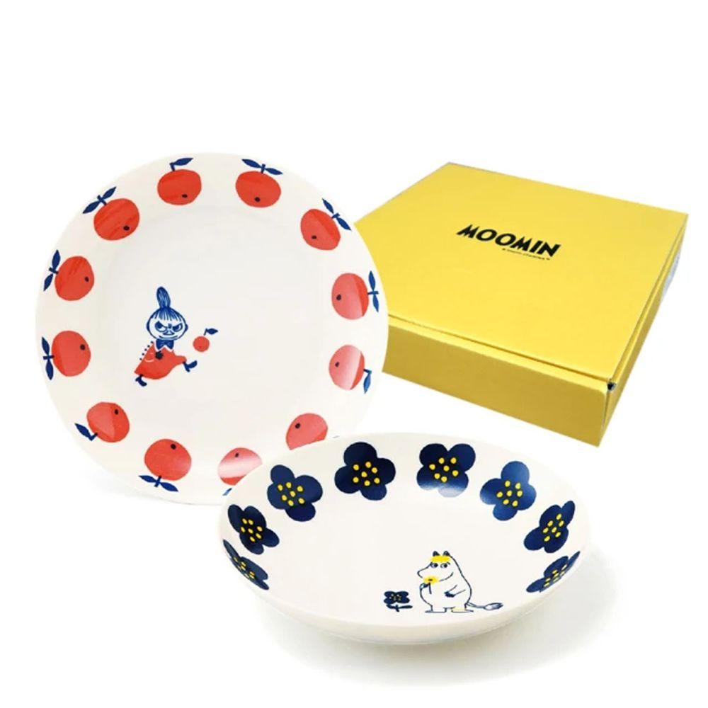 日本山加 yamaka - moomin 嚕嚕米彩繪陶瓷深盤禮盒-MM0324-139-2入組