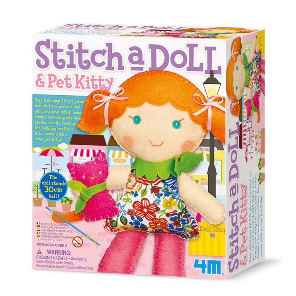 香港4M創意玩具 - 逛街女孩與小貓Stich a Doll & Pet Kitty