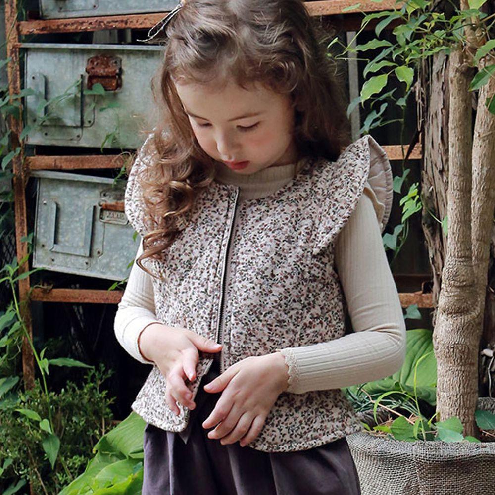 韓國 PuellaFLO - 立體袖鋪棉保暖背心-碎花杏