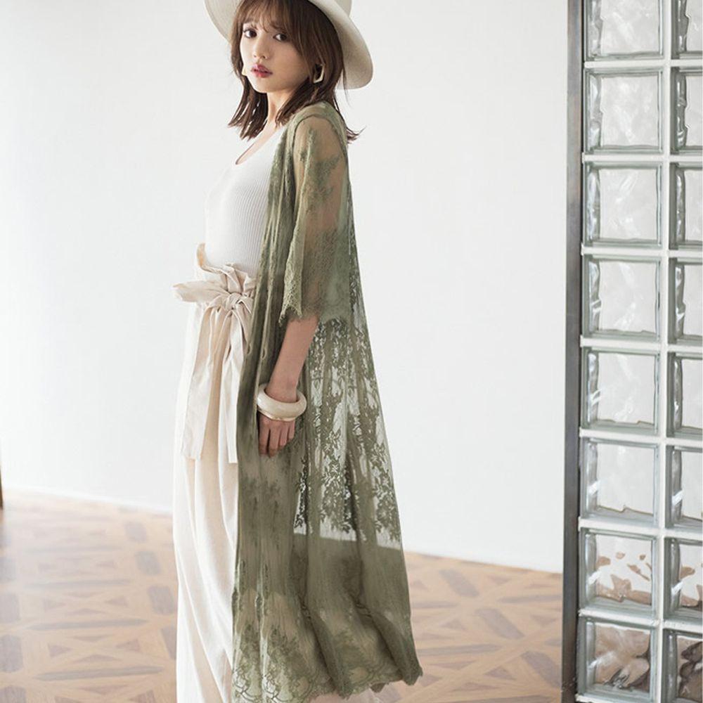 日本 GRL - 仙氣蕾絲刺繡七分袖罩衫-青春綠