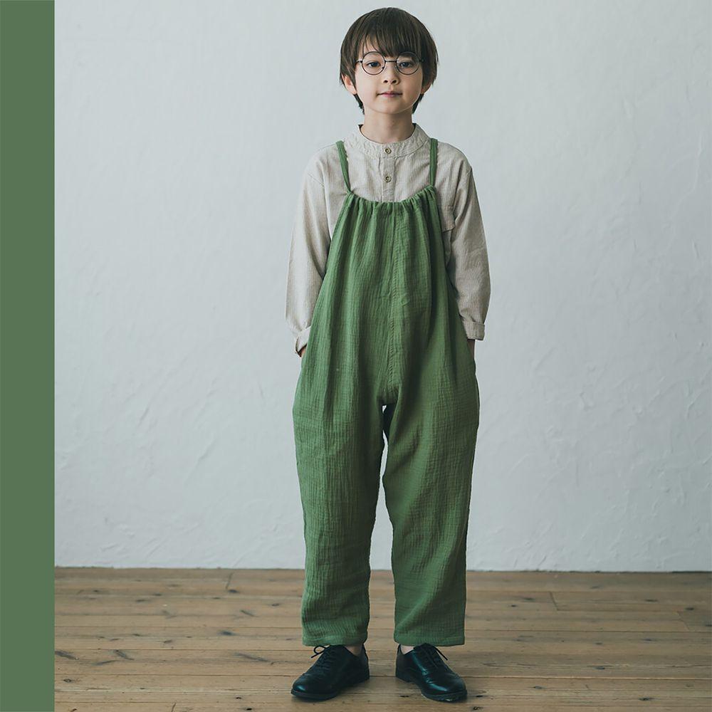 日本 riziere - 純棉 復古皺痕連身吊帶褲-卡其綠