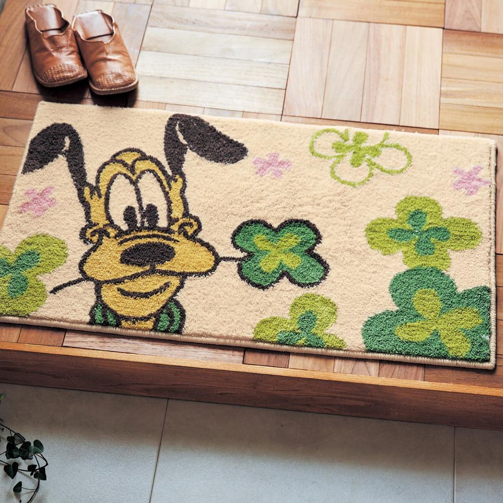 日本千趣會 - 迪士尼 花語腳踏墊(玄關/房門)(附止滑墊2片)-布魯托幸運草