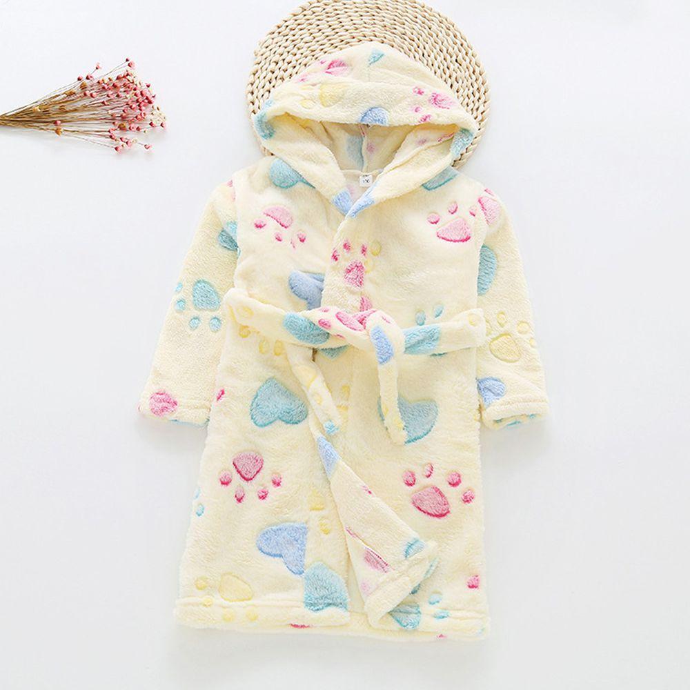 超柔軟珊瑚絨浴袍睡衣-黃色貓掌
