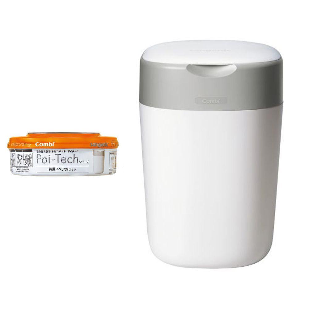 日本 Combi - Poi-Tech Advance 尿布處理器+膠捲1入-棉花白