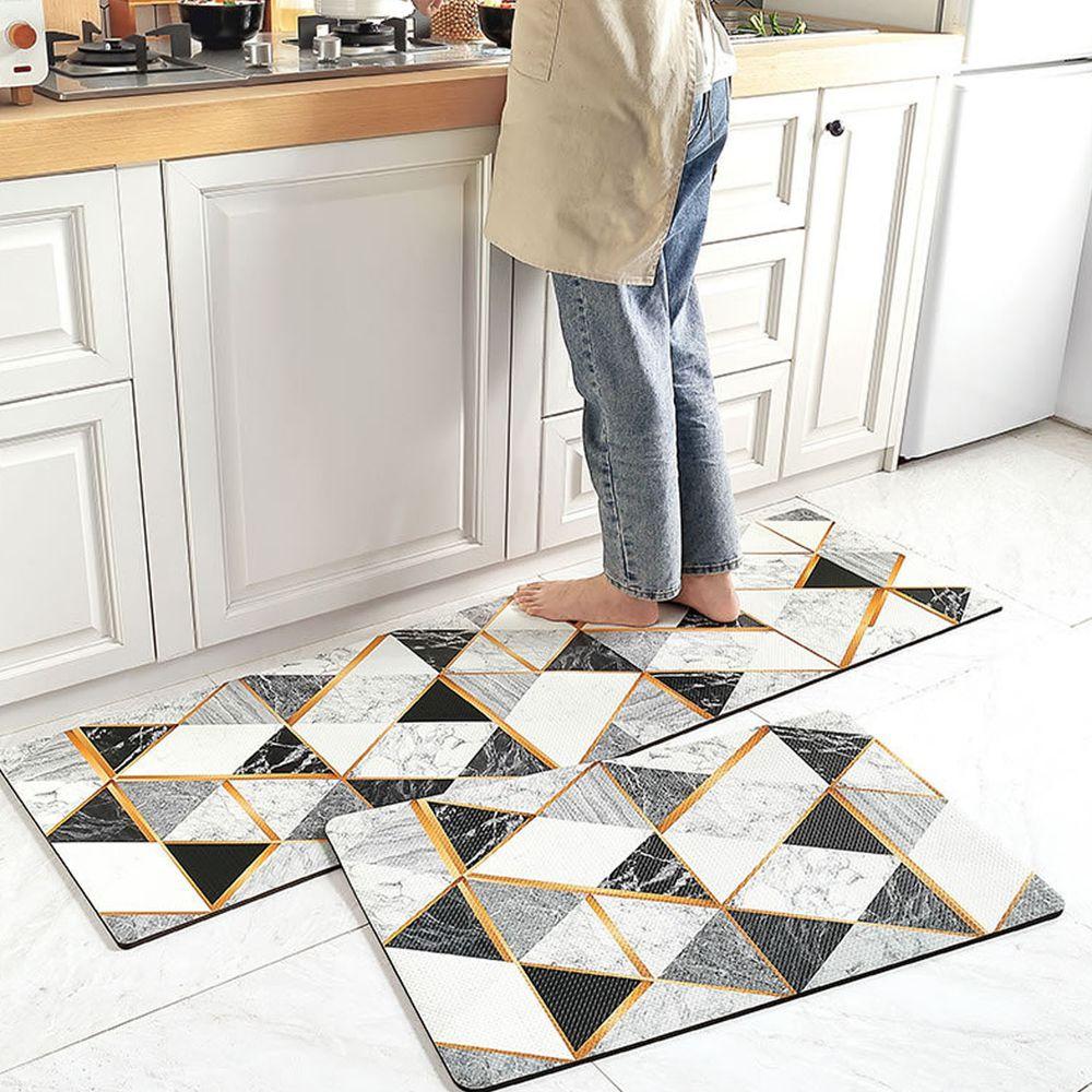廚房仿皮革PVC防水腳踏墊-幾何三角形