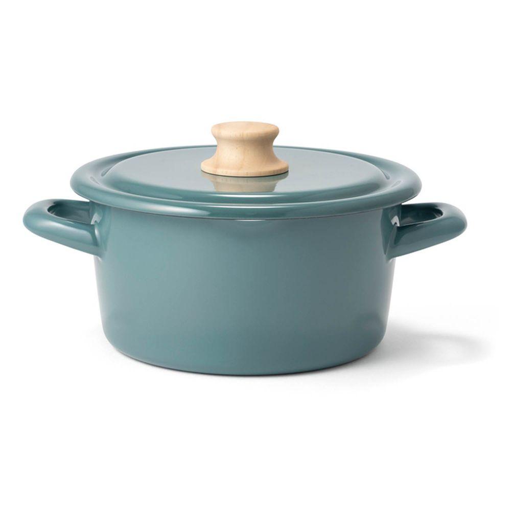 FUJIHORO 富士琺瑯 - 簡約系列-18cm雙耳附蓋琺瑯鍋-煙霧藍-容量:2.3L 重量:1.23kg