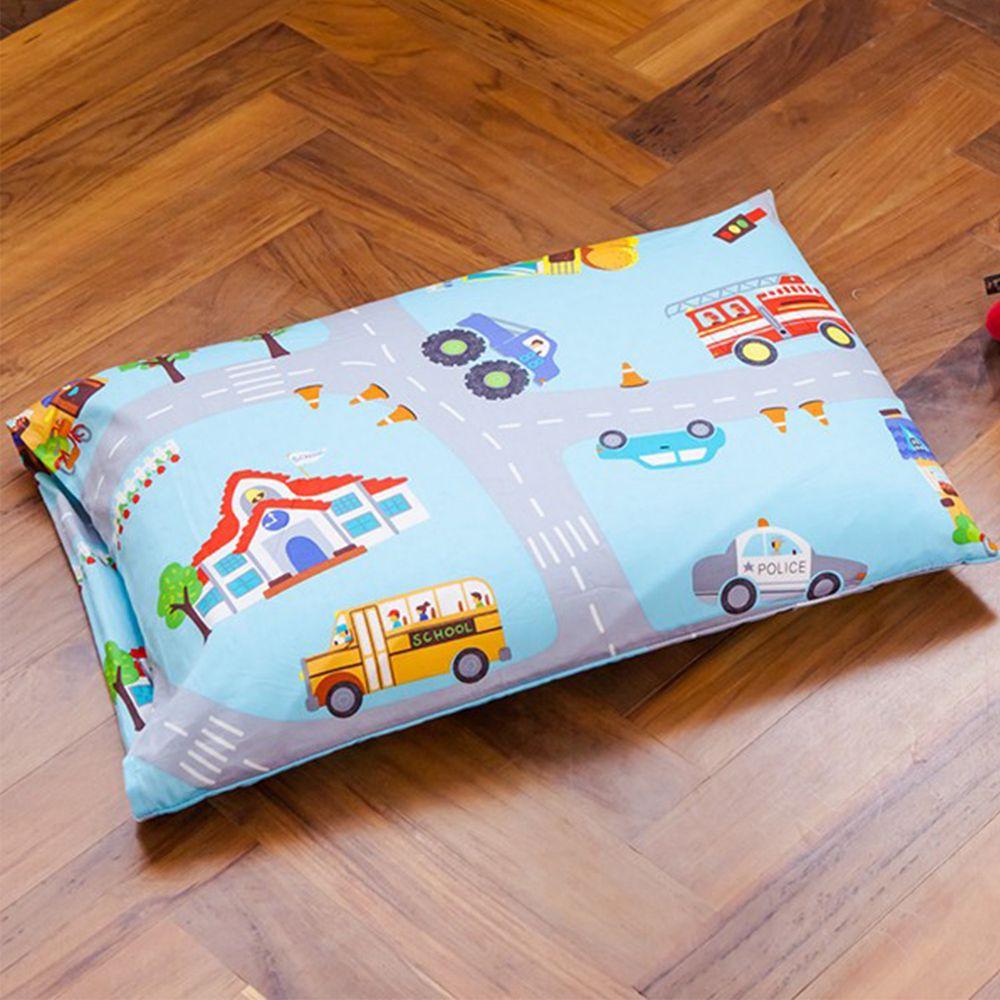 鴻宇HONGYEW - 防螨抗菌100%美國棉兒童標準型天然乳膠枕-交通樂園-1778