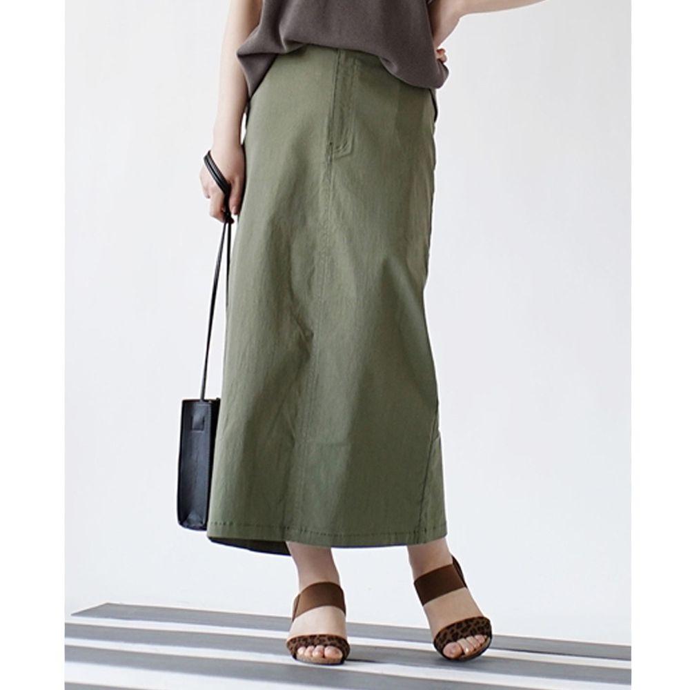 日本 zootie - Air SKIRT 彈性修身後開衩長裙-橄欖綠