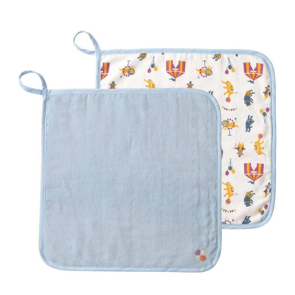 日本 Combi - mini系列-雙面用方巾2入-馬戲團 (30x30cm)