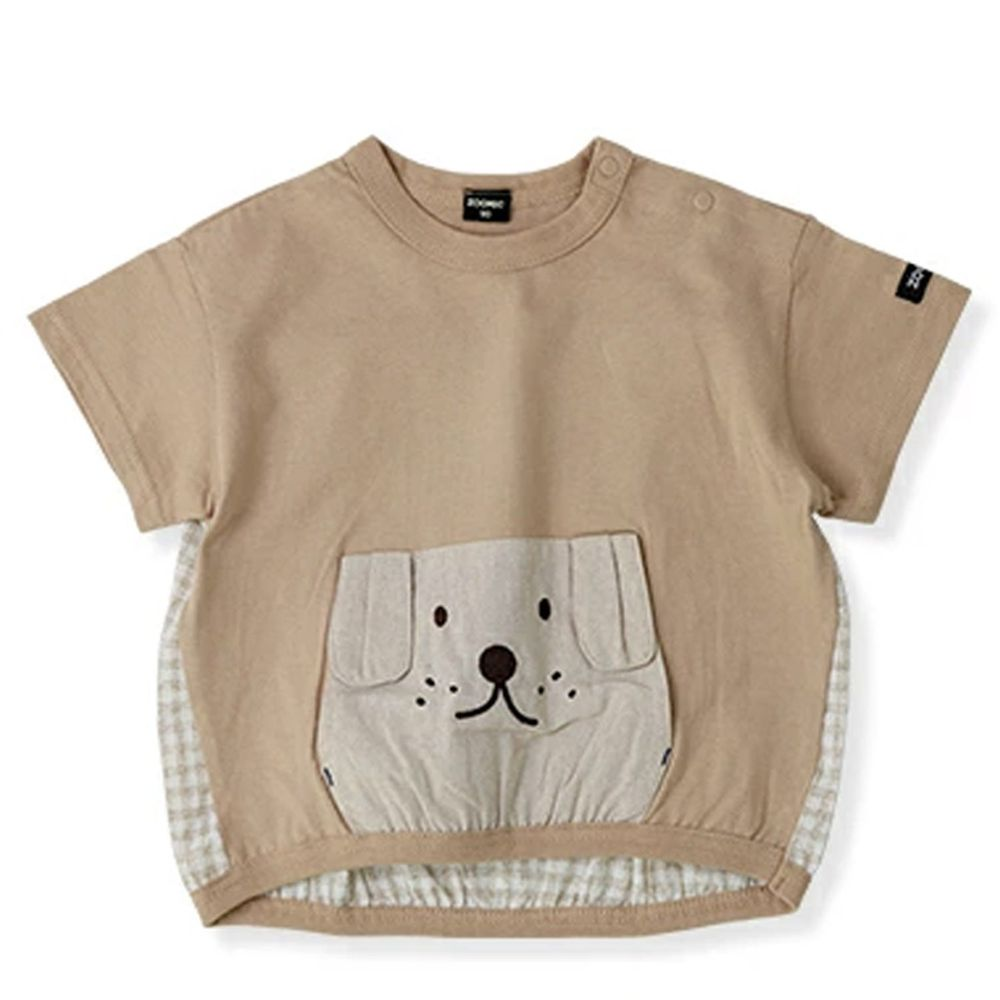 日本 ZOOLAND - 拼接短T-小狗格紋-杏